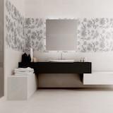 Плитка Acquerelli Bianco c декором Fiore Bianco в ванной